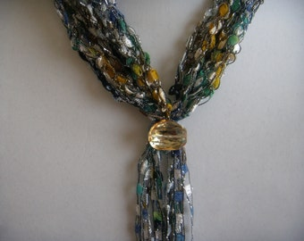 Blue/Green/Gold Ladder Yarn Scarflette With Amber Stone