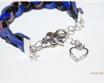 leather bracelet denim blue leather bracelet blue braided real leather