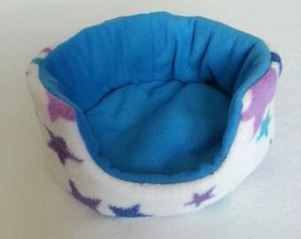 Fleece Cuddle Cup , Bed for Guinea Pig , Pygmy Hedgehog , Degu , Rat etc ( Multicoloured Stars , Turquoise )
