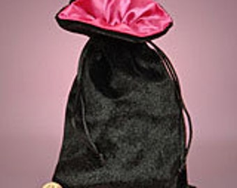 "Satin Lined Velvet Drawstring Bag - 5x8"" Hot Pink Satin Lining, Black Velvet Bag"