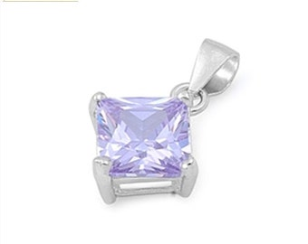 Solitaire Pendant Solid 925 Sterling Silver Princess Cut Square 8mm 3.01 carat Lavender CZ Pendant for necklace Birthstone Girfriend Gift
