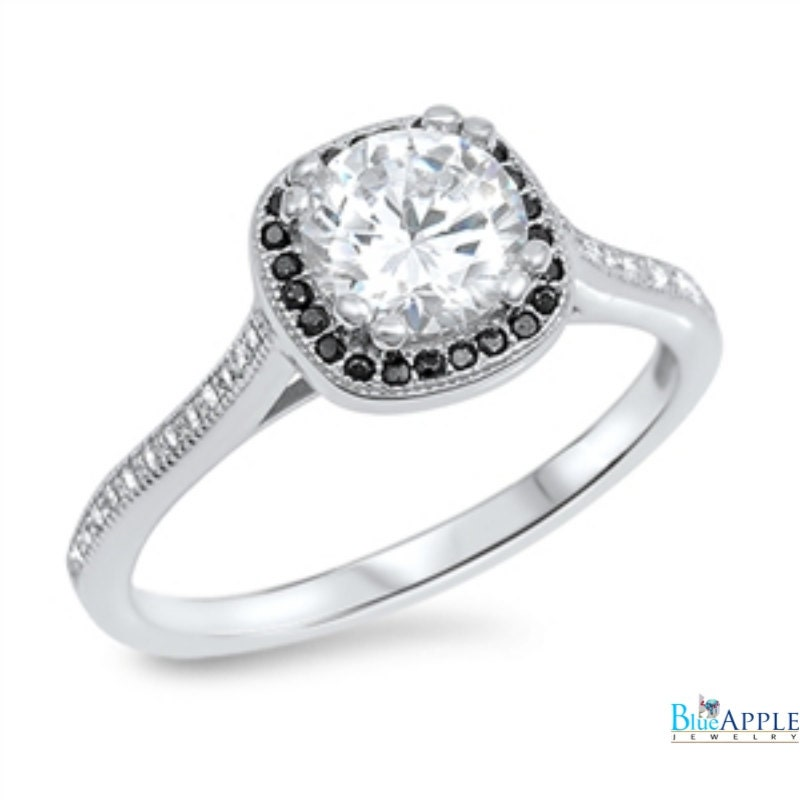 halo solitaire wedding engagement ring 925 sterling silver