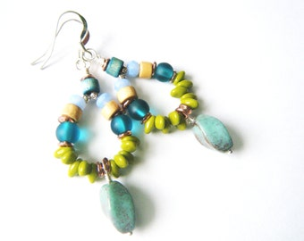 Boho turquoise earrings Boho jewelry Gypsy earrings Bohemian earrings Long earrings Dangle earrings