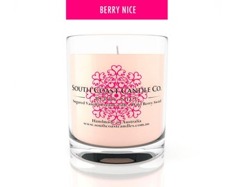 Vanilla Berries Scented Soy Wax Glass Jar Candle