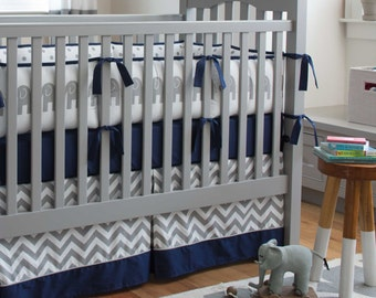 Boy Baby Crib Bedding: Navy and Gray Elephants 4-Piece Crib Bedding Set by Carousel Designs