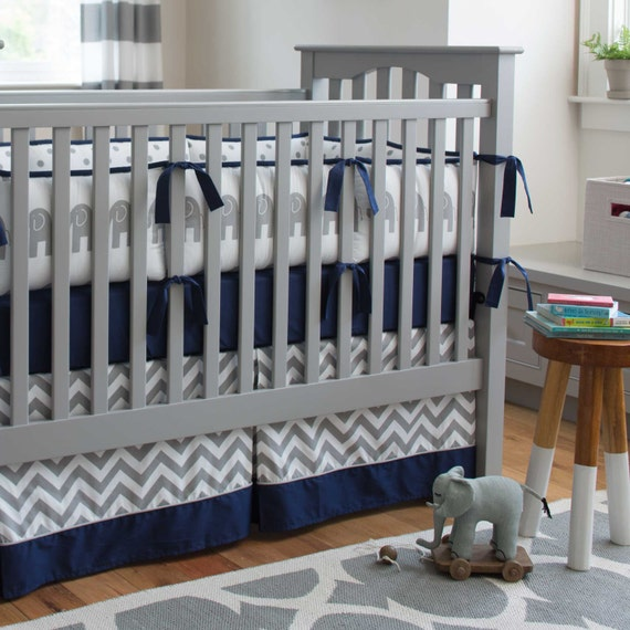 Boy Baby Crib Bedding Navy And Gray Elephants 4 Piece Crib