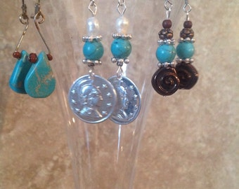 FREE SHIPPING!  Handcrafted Turquois earrings!