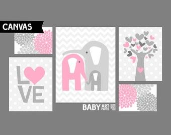 Pink and Grey Nursery canvas art prints, Set of 5, Elephants,Tree, Love ( MIX10102 )