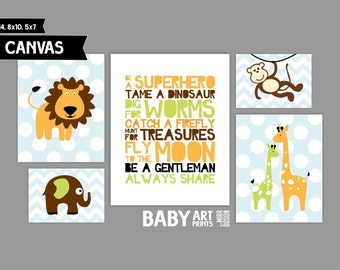 Jungle Themed Nursery canvas art prints, Set of 5, Lion, Giraffe, Monkey ( MS124 )