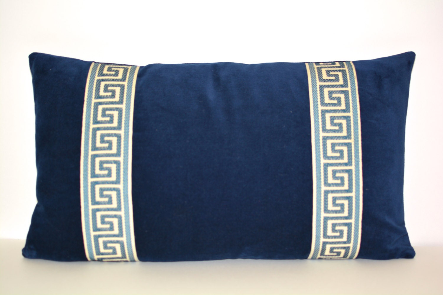 Navy Pillow Cover Blue Velvet Lumbar By ThereseMarieDesigns