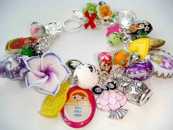 ... Jewelry - Matryoshka Bracelet - Nesting Dolls Charms - Funky Charm
