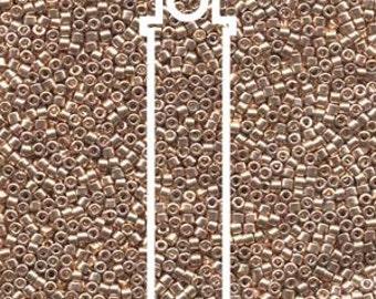 Delica Miyuki Beads, Galvanized Gold Dyed, Tube Beads, Peyote, Loom, Brick Stich, Bead Embroidery, 7.2 Grams, Uniform Quality Beads, #DB411