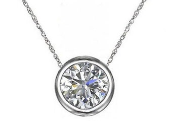 Brilliant Round Cut Pendant 1.00 Carat Bezel Slide Design With Chain in Solid 14K White Gold