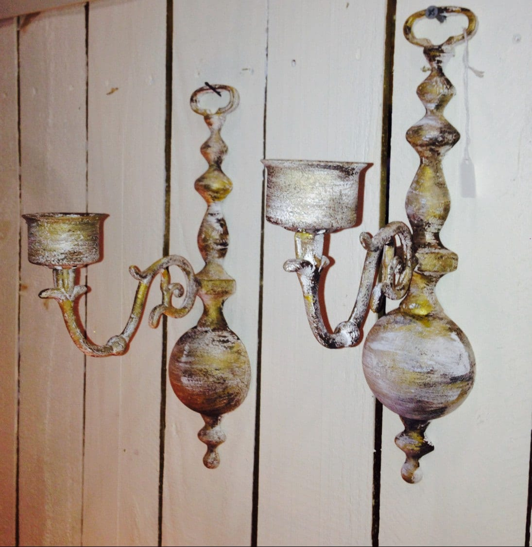 Vintage Brass Candle Holder Wall Sconces Matching Pair