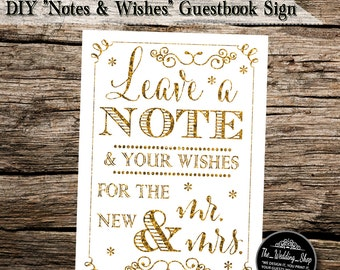 """Instant Download- 5"""" x 7"""" Printable JPEG Gold Glitter Effect DIY Wedding Guestbook Sign: Leave a Note and Your Wishes for the New Mr. & Mrs"""