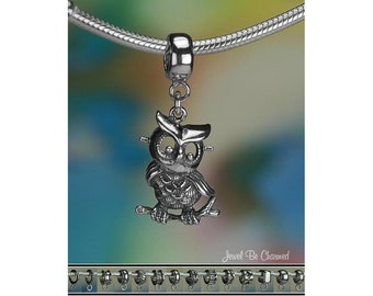 Retro Style Owl Charm or European Charm Bracelet Sterling Silver .925