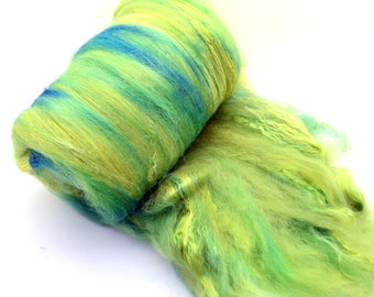 "Merino, Silk, Alpaca, spinning batt, felting wool batt, hand dyed, green, blue, yellow, drum carded smooth,  Colorway""Mediterranian"" 4.1 oz."