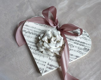 Heart Book, wedding guest book, diary, notebook, handmade, keepsake, sheet music cover, paper flower