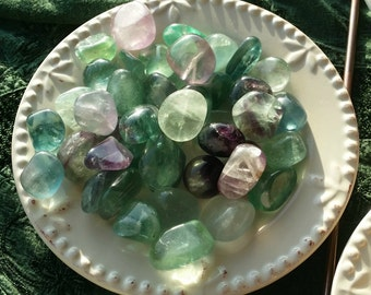 Rainbow Flourite Tumbled Stone/Crystal with Drawstring Pouch