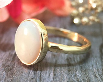 ONE-OF-A-KIND: 1.5CT Australian Opal <Bezel> Solid 14K Yellow Gold (14KY) Colored Stone Ring *Fine Jewelry* (Free Shipping)