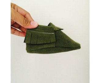 Hunter Green Suede Moccasins