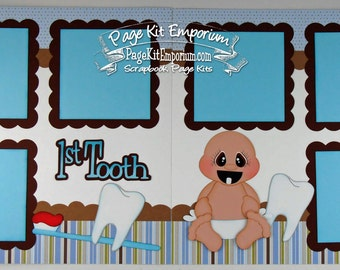 Scrapbook Page Kit Baby Boy First Tooth 2 page Scrapbook Layout 132