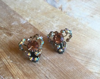 vintage 1950s Triad earrings // 50s signed rhinestone clip on earrings