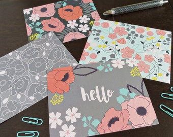 Poppy Garden Flat Notecard/Postcard Set of 12