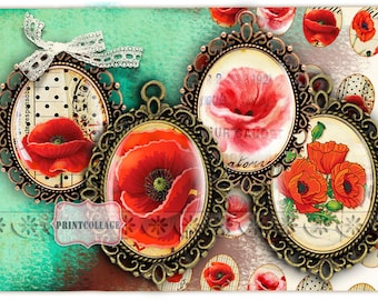 Poppy flower Cabochon oval images Digital Printable images 30x40mm, 30x22 mm, 25x18 mm 18x13 mm for pendants magnets scrapbooking c173