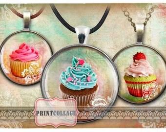 Cupcakes - Digital Printable Sheets Cabochon images 1.5inch 1inch 18,14mm round images Printable images Instant download c21