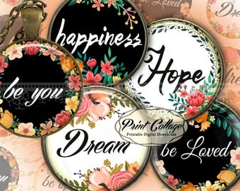 Positive Messages - Digital Printable Sheet Cabochon images 1.5 inch 1inch 18,14mm round images Printable images Instant download C198