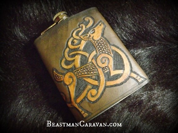 Viking Leather Flask - Celtic Knotwork Stag Design - 8 oz Flask