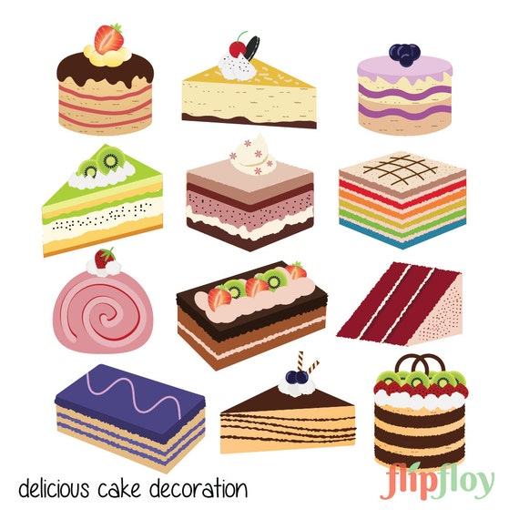 Delicious Cake Decoration Instant Download 12 Colorful