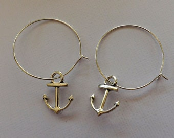 Silver plated hoops with Tibetan silver anchor charm