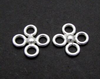 4 Pcs, 10mm, Sterling Silver Connectors