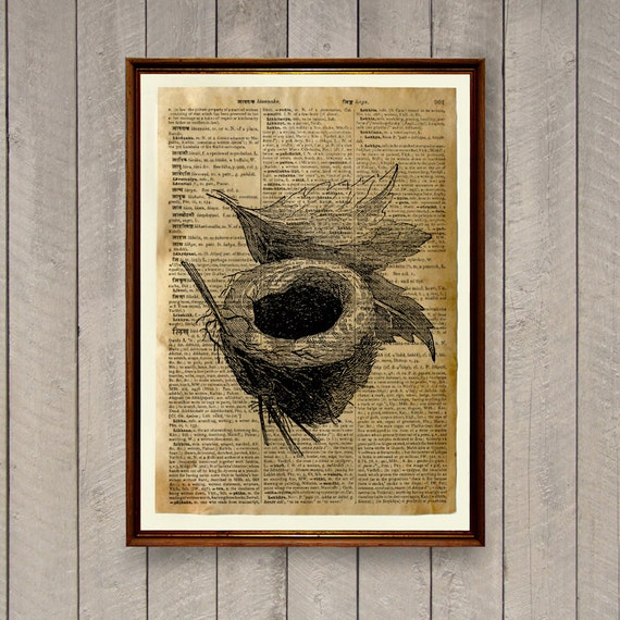 Bird nest poster farmhouse decor rustic print wa869 for The nest home decor