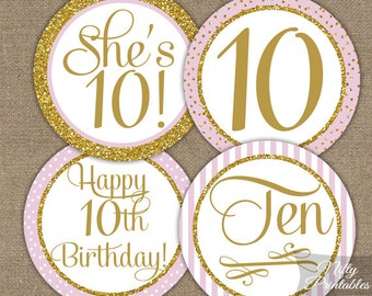 10th Birthday Cupcake Toppers - Tenth Birthday Party Pink & Gold Printable - DIY Girls 10th Bday Favor Tags - Ten Year Old - PGL