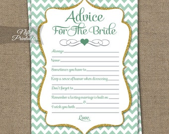 Mint Bridal Shower Advice Cards - Mint & Gold Chevron Bridal Shower Games - Instant Download - Printable Green White Bride Advice Card MCH