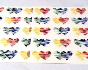 Vintage 1980s Primary Color Heart Scrapbook/Wrapping Paper Sheets, Crafting with Love