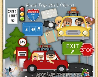 Road Trip 2015 Clipart, Vacation Clipart, Travel