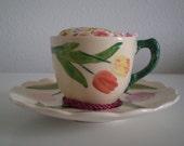 Multicolored Tulip Cup Pincushion