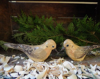 Hand Carved Windowsill Birds Set of 2 (Mourning Dove)
