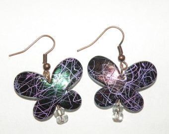 Multi colored child butterfly earrings