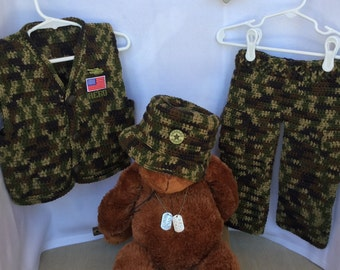 SALE! Military Green Camo Baby Boys Crochet Outfit 3-Piece Set Handsome Service Hero