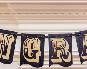 Congrats banner, Graduation banner, Graduation party decor, Black an gold banner, Graduation decor, Glittered banner
