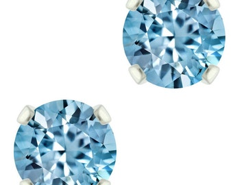 925 Sterling Silver Natural 3mm / 6mm  Diamond Cut Sky Blue Topaz Gemstones Stud Earrings