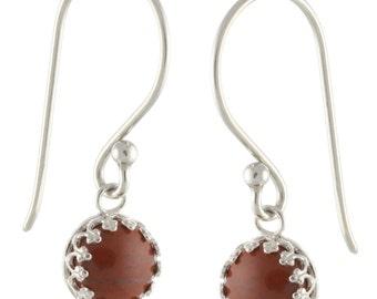 925 Sterling Silver Natural 8mm Cabochon Red Jasper Gemstones Crown Bezel Set Hook Earrings