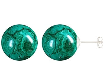 925 Sterling Silver Natural 8mm Round / Ball Malachite Gemstones Stud Earrings