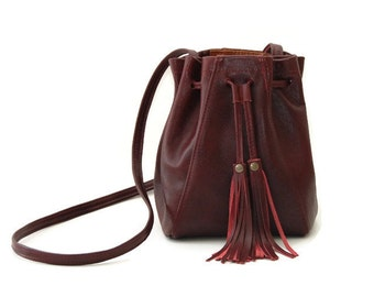 Burgundy Leather Bucket Bag // Mini tassel drawstring bucket bag // Boho Crossbody bag or shoulder bag in ox blood / marsala dark red