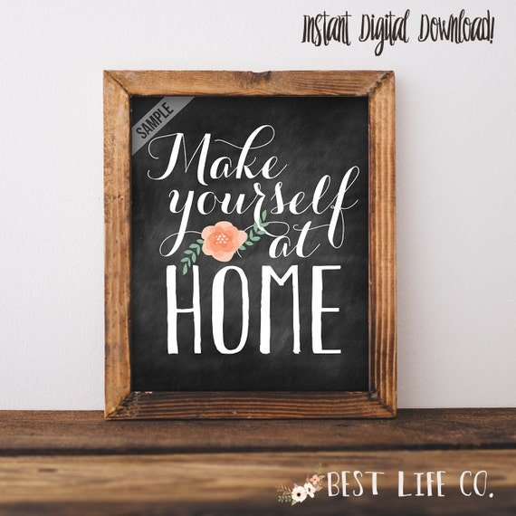 items similar to make yourself at home guest room printable digital file wall art print poster. Black Bedroom Furniture Sets. Home Design Ideas